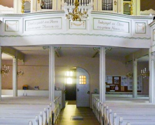 Trinitatiskirche Ernstthal - Blick zur Orgelempore