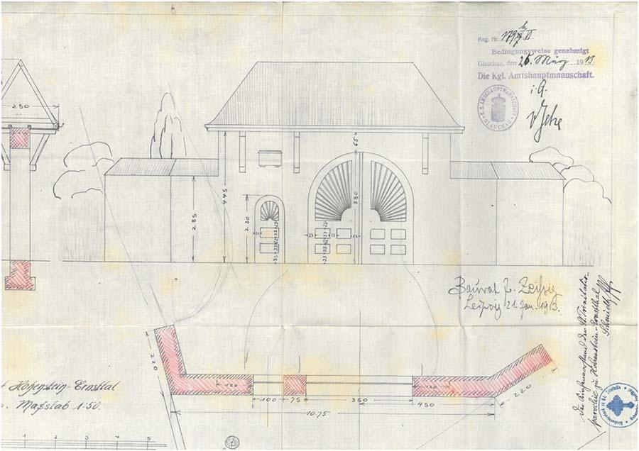 Entwurf des Eingangstores am Friedhof Ernstthal von Baurat Zeißig
